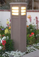 lighted square contemporary bollard