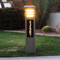 square contemporary lighted bollard with lighted address numbers