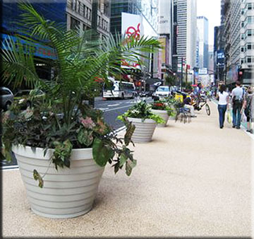 new york pedestian plaza step planters