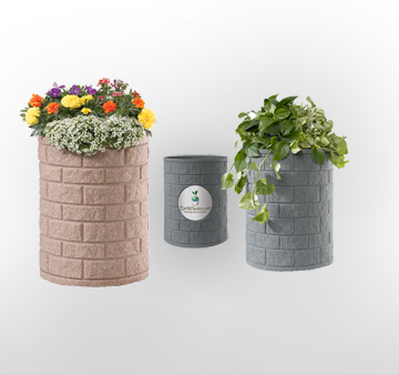 self watering rolled rim earth planters